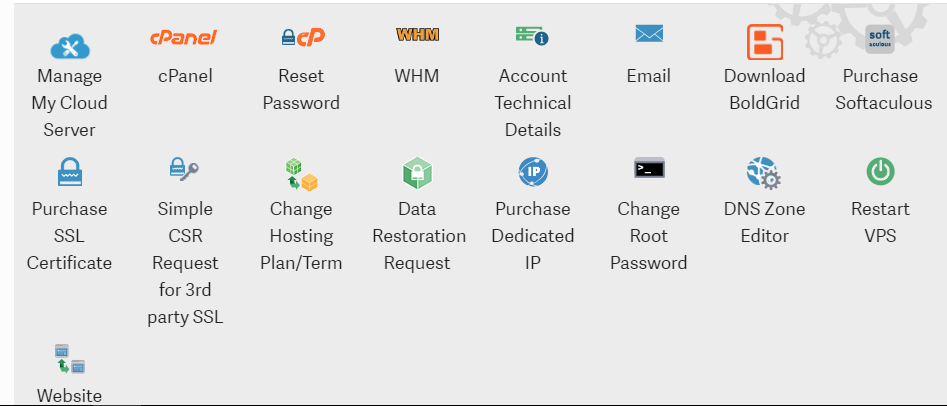 VPS customer's Manage my account section