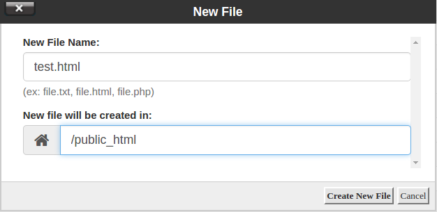 cpanel creating new file